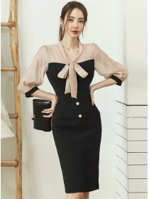 Korea Stylish Color Block Bowknot Collar Slim Dress