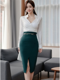 Elegant Lady V-neck Fitted Waist Split Slim Dress Set
