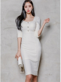 Grace Fashion Square Collar High Waist Bodycon Dress