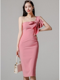 Wholesale Sexy Bowknot Off Shoulder Bodycon Dress