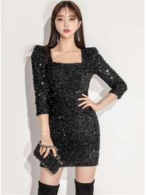 Sexy Fashion Square Collar Sequins Shining Skinny Dress