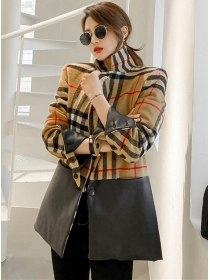 Modern Lady Single-breasted Plaids Splicing Leather Coat