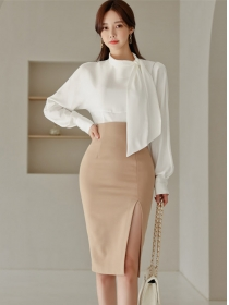 Elegant Lady Tie Collar Blouse with Split High Waist Midi Skirt
