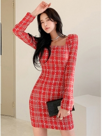 Modern Lady Square Collar Plaids Slim Long Sleeve Dress