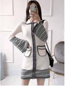 Korea Fashion Doll Collar Stripes Beads Flare Sleeve Knit Dress