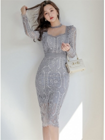 Modern Lady Square Collar Fitted Waist Lace Slim Dress