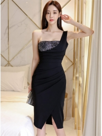 Wholesale Sexy Sequins Bust Pleated Slim Tank Dress