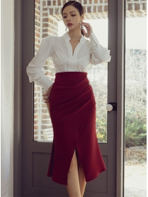 Grace Lady V-neck Puff Sleeve Blouse with Split Fishtail Skirt