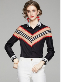 Wholesale Europe Color Block Long Sleeve Blouse