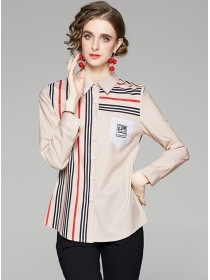 Europe Spring New Stripes Shirt Collar Long Sleeve Blouse