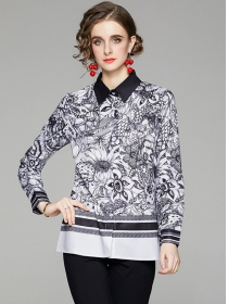 Europe Stylish Shirt Collar Flowers Long Sleeve Blouse