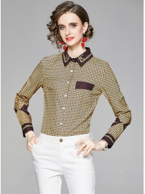 Fashion Lady Shirt Collar Houndstooth Long Sleeve Blouse