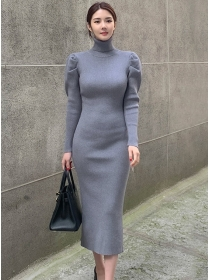 Wholesale Korea Stand Collar Puff Sleeve Slim Knitting Dress