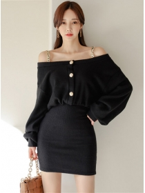 Spring Wholesale Chain Straps Boat Neck Puff Sleeve Dress