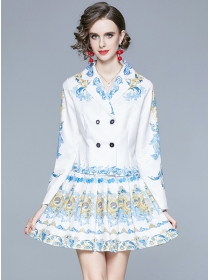 Retro Europe Double-breasted Flowers Dress Set