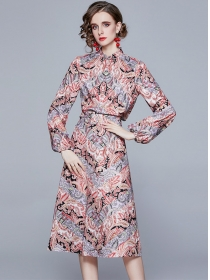 Retro Wholesale Puff Sleeve Flowers Two Pieces Dress