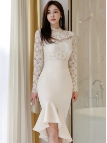 Grace Fashion Lace Blouse with High Waist Fishtail Slim Skirt