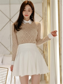 Modern Spring Doll Collar Lace Blouse with Pleated A-line Skirt