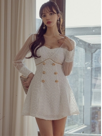 Sexy Lady Gauze Sleeve Double-breasted A-line Dress
