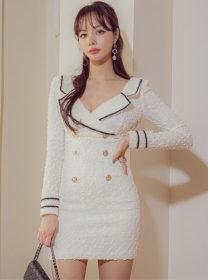 Modern OL Tailored Collar Double-breasted Slim Dress