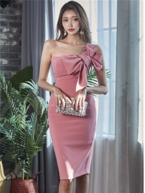Sexy OL Bowknot Off Shoulder Bodycon Tank Dress