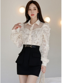 Spring New Petals Gauze Blouse with Short A-line Skirt