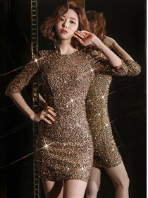 Sexy Fashion 2 Colors Backless Sequins Slim Dress