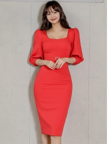 Modern New Square Collar Puff Sleeve Bodycon Dress