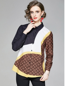 Europe Stylish Color Block Printings Loosen Blouse