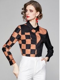 Retro Fashion Color Block Plaids Long Sleeve Blouse