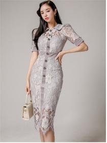 Elegant Lady Single-breasted Doll Collar Lace Bodycon Dress