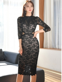 Modern Sexy Waist Hollow Out Backless Lace Slim Dress