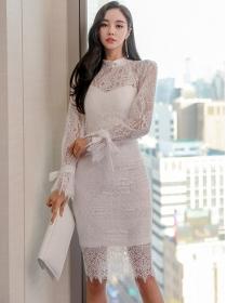 Wholesale OL 2 Colors Lace Flowers Slim Long Sleeve Dress