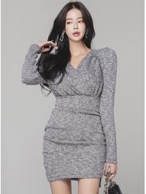 Korea Spring V-neck Puff Sleeve Slim Knitting Dress