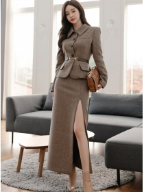 Boutique Fashion Single-breasted Short Coat with Split Long Skirt