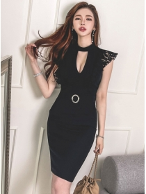 Sexy Lady Bust Hollow Out Lace Splicing Slim Tank Dress
