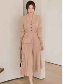Spring Fashion Tailored Collar Splicing Pleated Long Dress