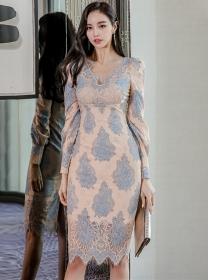 Grace OL V-neck High Waist Lace Flowers Slim Dress