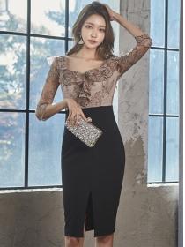 Retro Grace Flouncing Lace Flowers Splicing Slim Dress
