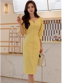 Korea Wholesale Single-breasted V-neck Puff Sleeve Dress