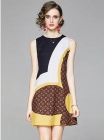 Europe Wholesale Color Block Flowers Tank A-line Dress