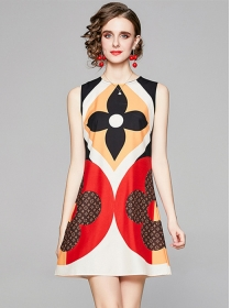 Wholesale Stylish Round Neck Flowers Tank A-line Dress
