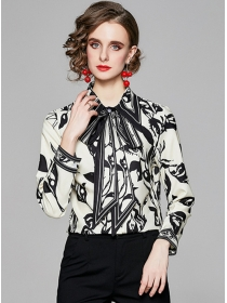Europe Spring Tie Collar Ink Flowers Loosen Blouse