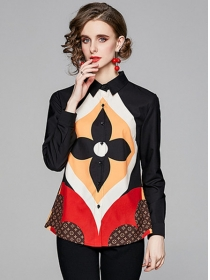 Europe Stylish Color Block Flower Long Sleeve Blouse