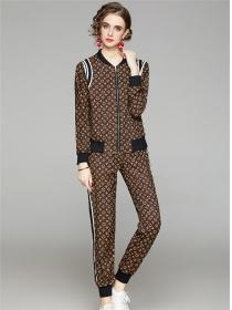 Europe Brand Fashion Flowers Zipper Open Slim Long Suits