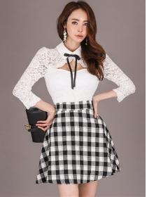 Spring Fashion Lace Shirt Collar Plaids A-line Dress