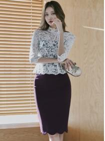 Korea OL Lace Flouncing High Waist Bodycon Dress
