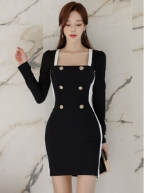 Korea Spring New Square Collar Double-breasted Slim Dress