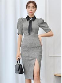 Korea OL Bowknot Collar Houndstooth Puff Sleeve Dress Set