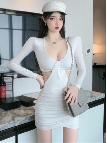 Sexy Lady 2 Colors V-neck Hollow Out Skinny Cotton Dress